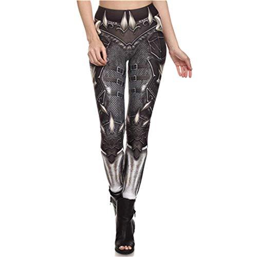 Anaisy Moda para Mujer Steampunk Cintura Alta Mecánica Festivo 3D Impresión Cosplay Leggings Pantalones De Cintura Alta Pantalones De Lápiz (Color : Kdk1627, Size : S)