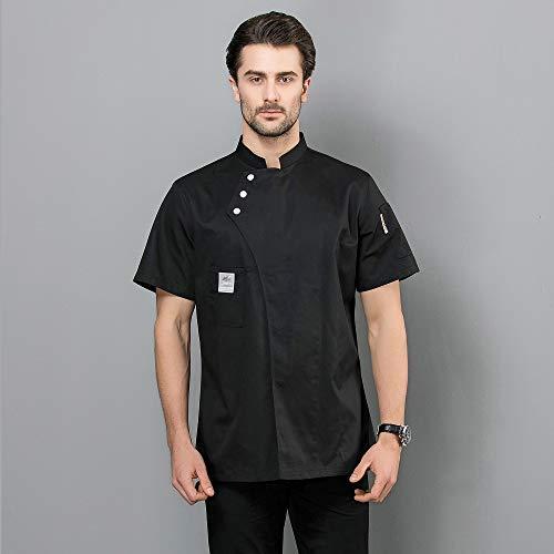 Neue Männer Frauen Kurze Ärmel Sommer Restaurant Chef Jacke Tasten Design Küche Hotel Arbeitskleidung Koch Bäckerei Uniform,Black,L