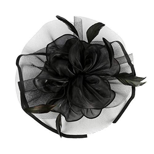 F Fityle Blumen Fascinator Haarreif Braut Party Kopfschmuck Gatsby Kostüm Accessoires 20er Jahre Flappers Feder Haarband - Schwarz
