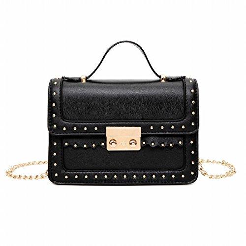 Frauen Arbeiten Liu Nagel Kleine Quadratische Tasche Schultertasche Einfache Kleine Kette Schräge Quer Schwarz