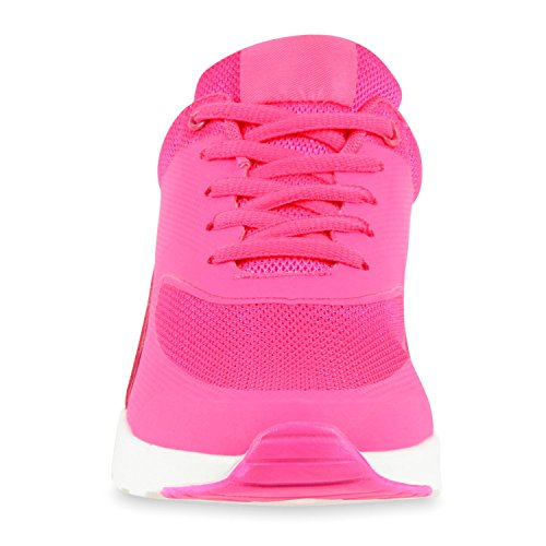 Damen Herren Unisex Sportschuhe Laufschuhe Runners Sneakers Schnürer Neonpink Weiss Amares