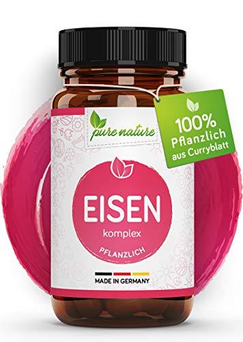 Natürlicher EISEN KOMPLEX aus Curryblatt 14-28mg + Vitamin C aus Acerola für maximale Bioverfügbarkeit I 120 Kapseln I HOCHREIN ohne Zusätze I Made in Germany I Vegan -
