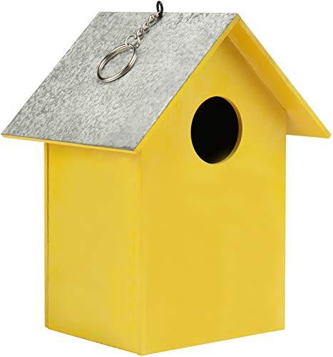 Com-four® Pajarera de Madera - Nido para pájaros pequeños - comedero Decorativo para Colgar - protección...