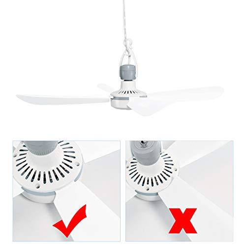 Yorbay Mini Ventilatore a soffitto elettrico portatile 220V aggancio delle pale, Diametro 45 cm mini Fan