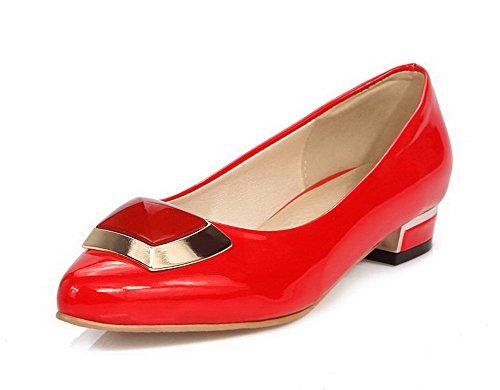 VogueZone009 Femme Tire Pu Cuir Pointu à Talon Bas Couleur Unie Chaussures Légeres Rouge