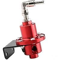 Qiilu Universal Regulador de presión de combustible ajustable de aluminio con indicador para auto(rojo)