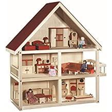 roba Puppenhaus, Puppenvilla inkl, Möbel und Puppen, Mädchen Spielzeug, Holz natur