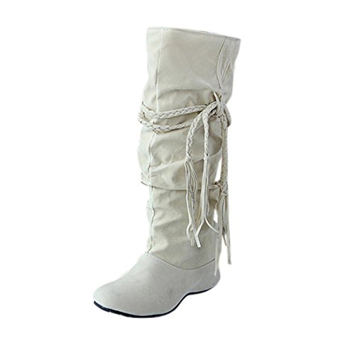 Damen Schuhe Dasongff Damen Stiefel Fransenstiefel Langschaft Stiefel Erhöhen Sie Plattform Stiefel Motorrad-Schuhe Runde Flache Stiefel Schlupfstiefel Schuhe Boots (EU:39, Beige) (Plattform-schuh -)