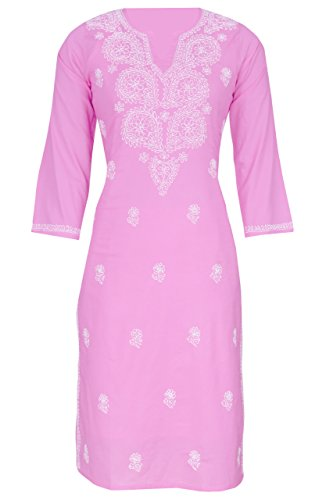 ADA Hand Embroidered Lucknow Chikan Regular Wear Cotton Kurti Kurta (A302192_Pink)