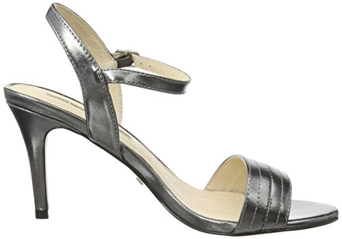 Buffalo London 15BU0115 Kid Leather Damen Knöchelriemchen Sandalen Grau (PEWTER 01)