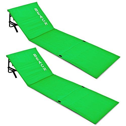 Deuba 2X Strandmatte   Faltbar Gepolstert verstellbare Lehne Staufach Rückenlehne Badematte Isomatte Strandtuch Grün