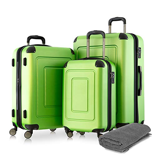 Happy Trolley - 3er Koffer-Set Trolley-Set Rollkoffer Hartschalen-Koffer Reisekoffer Lugano sehr leicht, TSA, (S, M & XL), Grün +Badehandtuch