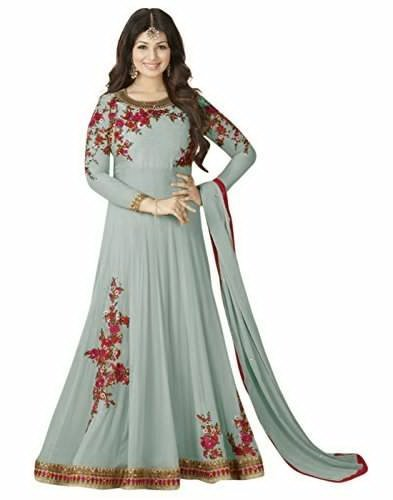 Aadhya Women\'s Georgette Semi - Stitched Embroidred Anarkali Suit (Aadhya_Blue_Free Size)