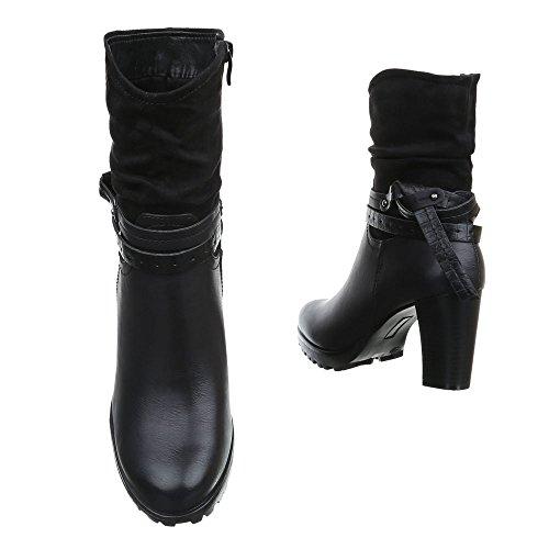 Damen Boots Schuhe Stiefeletten Mit Deko Schwarz Grau Braun 36 37 38 39 40 41 Schwarz