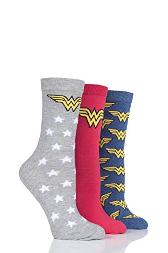 Film & TV SockShop Damen Wonder Woman Logo Baumwolle Socken Packung mit 3 Assortiert 36-40