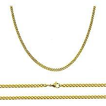 Aplstar - Collar de cadena chapado en oro de 18 quilates, tamaño: 40- 45 -50 -55 -60cm x 2mm de grosor