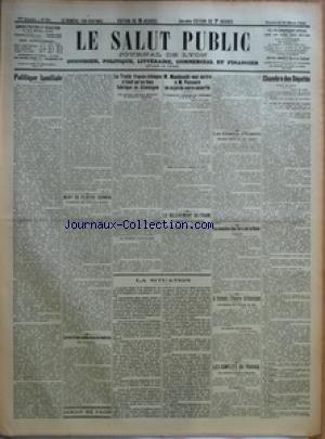 SALUT PUBLIC (LE) [No 81] du 21/03/1924 - POLITIQUE FAMILIALE PAR M G - MORT DU PEINTRE CORMON - LE VOL D'UNE COLLECTION DE TIMBRES - LE TRAITE FRANCO-TCHEQUE N'ETAIT QU'UN FAUX FABRIQUE EN ALLEMAGNE - M MACDONALD VEUT ECRIRE A M POINCARE AU SUJET DE NOTRE SECURITE - LE RELEVEMENT DU FRANC - LA SITUATION - LES COMITES D'EXPERTS - LA CESSION DE FERS DE LA RUHR - A TRAVERS L'EMPIRE BRITANNIQUE - LES CONFLITS DU TRAVAIL - CHAMBRE DES DEPUTES - LES CADRES ET EFFECTIFS DE L'ARMEE par Collectif