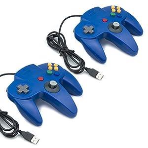 QUMOX 2x Nintendo 64 N64 Spiele Classic GamePad Controller für USB zu PC / Mac Blue