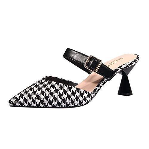 Zegeey Chaussures Femme, Automne été Confortable et Elégant Chaussures à Talon Classics Pantoufles avec des Sangles sur Le Dos pour Les Femmes Fête Bretelles Parti Sandales(Noir,EU35)