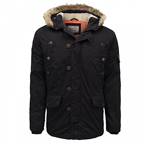 Brave Soul 'Noel' Men's Fur Trimmed Hooded Parka Jacket Coat