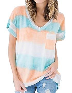 Yying Camiseta Mujer Verano Manga Corta Camisa Mujeres Tops Sueltas con Estampado Rayas Blusas Casuales Cuello V