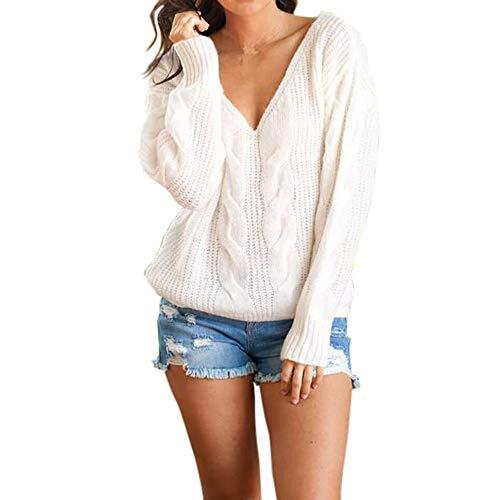 (Damen V Ausschnitt Casual Shirts Knit Pullover Tops MYMYG Langarm Sweatshirt Herbst Winter One Shoulder Einfarbig Loose Fit (B1-Weiß,EU:38/CN-M))