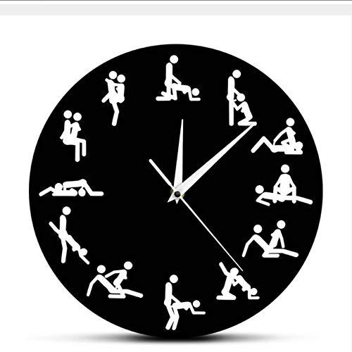 Djkaa Sexuelle Positionen Wanduhr Erwachsene Sex-Spiel 24 Stunden Sex Schmutzige Smut Humor Wandkunst Dekorative Wohnzimmer Uhr Bachelorette Geschenk (12 Zoll) (Sexuellen Positionen)