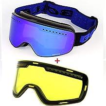 Gafas De Esquí, Máscara Gafas Esqui Snowboard Nieve Espejo para Hombre Mujer Adultos Juventud Jóvenes