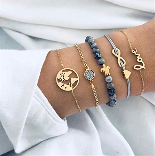 5 Satz Schmuck Mode Persönlichkeit Pat Frauen Pfirsich Herz Armband Anzug Ananas Gewebt Naturstein Perlen Armbänder
