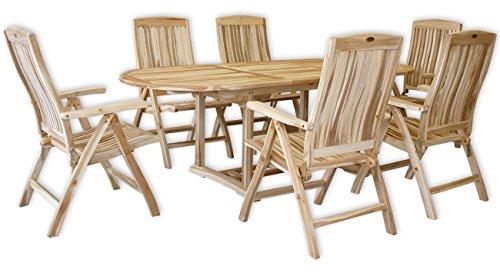 KMH, Teak Gartensitzgruppe mit ausziehbarem Gartentisch für 6 Personen (#102205)