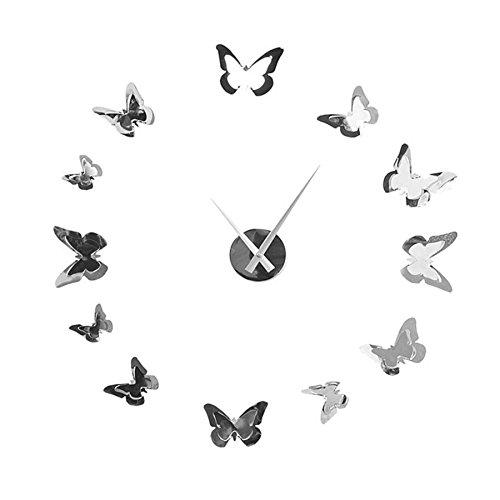 Extravagante Wanduhr BUTTERFLIES in Chrom Optik Schmetterlinge Wand Edelstahl Uhr Geschenkidee