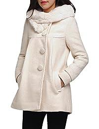 Yasong Women's Girl's Single Breasted Hooded Wool Coat Trench Jacket Peacoat Cape Coat