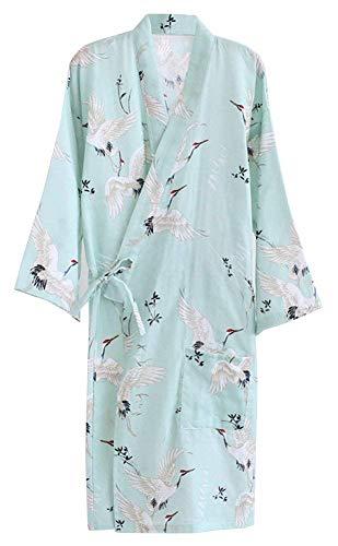 Huixin Damen Männer Dchen Sommer Aus Kimono Elegant Baum Roben Floral Pyjamas Nacht Wärmen Khan Yukata Bademantel (Color : Grün, Size : One ()