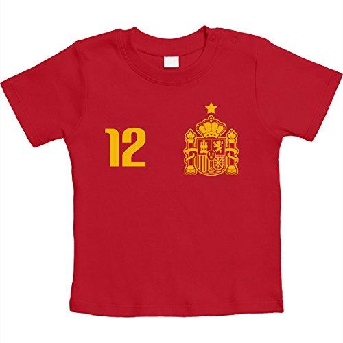 Shirtgeil maglia x bimbi fan del calcio - spagna mondiali 2018 maglietta neonato unisex 18-24 mesi rosso