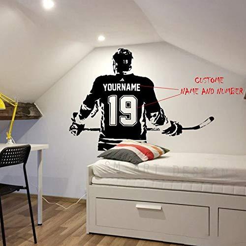 Hockey Wall Art - benutzerdefinierten Namen Hockey Decal Hockey Wall Decor - Eishockey Vinyl Aufkleber - wählen Sie Namen und Jersey-Nummern 82 X 57 cm Kaffee
