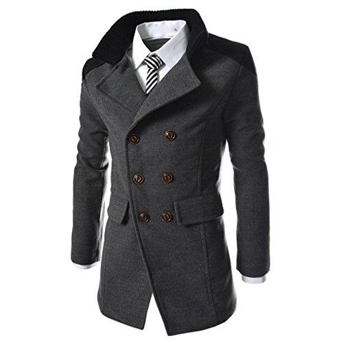 Herrenmantel Wintermantel Herren zweireihiger Windbreaker Jacke Revers Woll langen Mantel JYJM Männer Jacke warme Winter Graben lange Outwear Button Smart Mantel (M, Grau)
