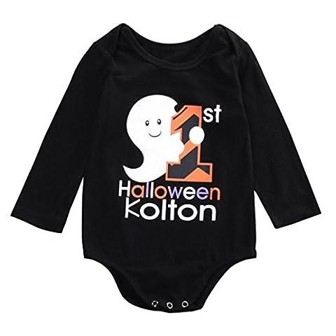Moonuy Lettre à manches longues Romper Jumpsuit Vêtements bébé Halloween bébé (12months, D)