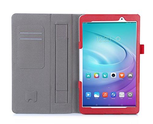 ISIN Funda para Tablet Serie Funda de Premium PU con Stand Función para Huawei Mediapad M2 Lite 10 de 10,1 pulgadas WIFI LTE Android Tablet PC con Velcro Correa para la Mano y Ranuras para Tarjetas (Rojo) width=