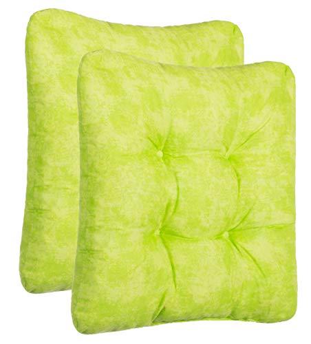 Juego de cojines cojines para asiento silla Cojín Silla Auflage-2y 4-Set-distintos colores, poliéster, verde, 2er-Set