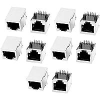 Sourcingmap® 10 Pcs RJ45 Modular Enchufe 8P8C PCB Montaje Conector de Red Conectores Acopladores