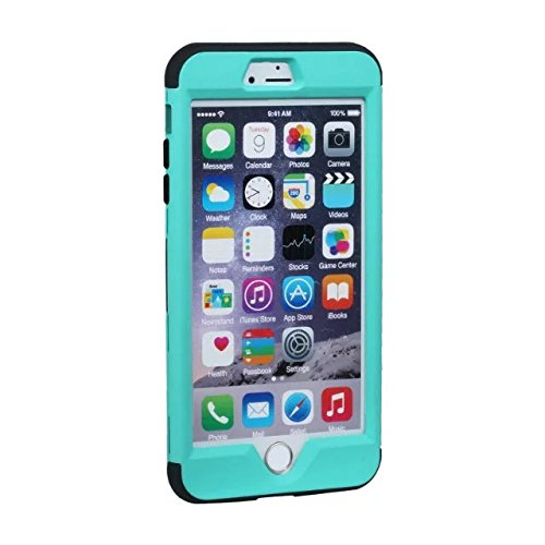 """iPhone 6 Plus Hülle,iPhone 6S Plus Hülle,Lantier 3 in 1 Anti Fingerabdruck Anti Skid beschichtete Oberfläche harte Schutz Hülle Abdeckung für iPhone 6 Plus /6S Plus 5.5"""" Mint Grün+Schwarz Mint Green+Black"""