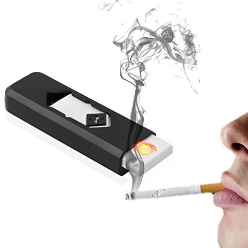 Electronic USB Cigar Cigarette Lighter Windproof Rechargeable Flameless Lighter-Black  available at amazon for Rs.195