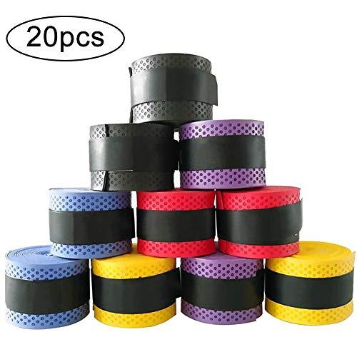 INTVN 20 Stück Tennis Griffband Badminton Schläger Overgrip für Anti Slip und Saugfähigen Griff, Sortierte Farbe -