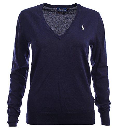Polo Ralph Lauren V-Neck Damen Pullover Pima Cotton dunkelblau Größe XS