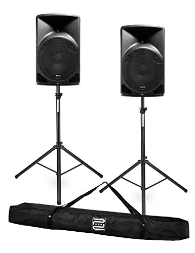 Alto TX12 Aktiver Fullrange Lautsprecher Set (2 PA-Boxen mit je 300W, 2 Stativen mit Transporttasche) Schwarz