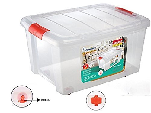 Big Plastic Multipurpose Storage Container Box With Wheels And Side Locking Handles - 70 Ltr
