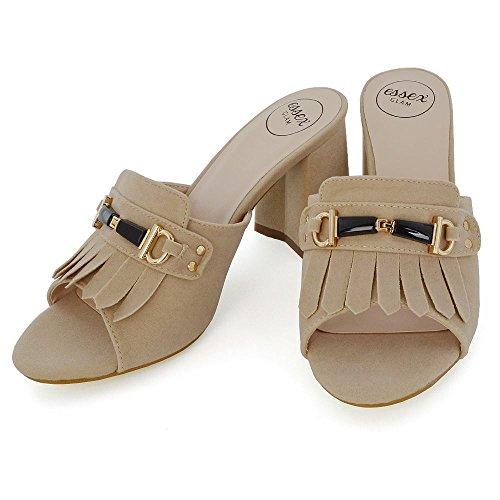 ESSEX GLAM Donna Tacco a Blocco Fibbia Scivolare su Peep Toe Finto Scamosciato Sandalo Carne Finto Scamosciato