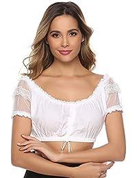 Aibrou Dirndlbluse weiß Bluse Spitze Weiß Elegante Trachtenbluse für Oktoberfest 34-40