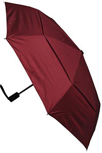 C&C LONDON - Paraguas Compacto - A PRUEBA DE VIENTO - FUERTE - Toldo Ventilado - ALTA TECNOLOGÍA PARA COMBATIR POSIBLES DAÑOS - Apertura y Cierre Automático - Pequeño - Plegable - Rojo Burdeos