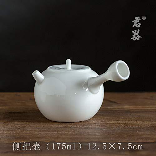 Teiera In Ceramica Teiere Tetera De Porcelana Blanca Olla De Cerámica Manual Del Hogar Juego De Té Japonés Kung Fu Tetera De Porcelana De Jade, Aa (175 Ml)